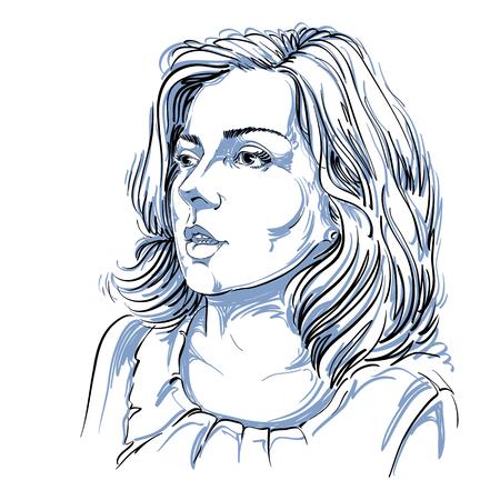 Zwart-wit vector handgetekende beeld, verbaasde jonge vrouw. Zwart-witte illustratie van wit huid ernstig meisje. Stock Illustratie