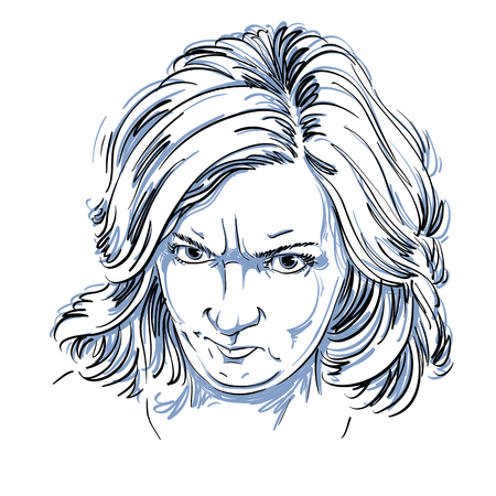 Vector portrait of angry woman with wrinkles on her forehead, illustration of good-looking but irate female. Person emotional face expression. Illustration
