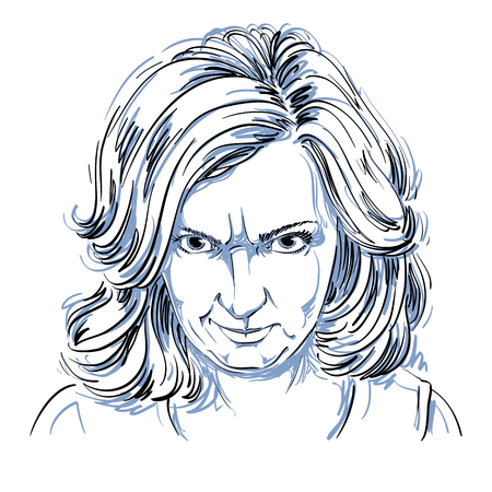 Hand-drawn portrait of white-skin arrogant woman with wrinkles on her forehead, face emotions theme illustration. Angry lady posing on white background.