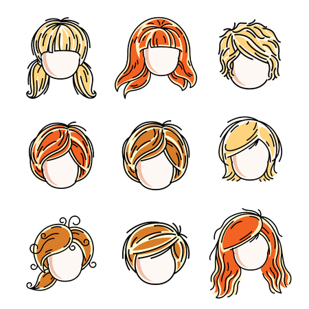 red haired: Collection of cute girls faces, vector human head flat illustrations. Set of red-haired and blonde teenage girls, little schoolgirls avatars clipart.