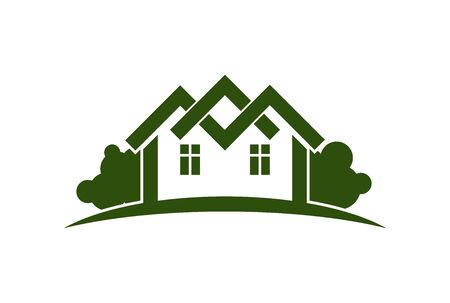 Abstract vector illustration of country houses with horizon line. Village theme picture – green house. Simple buildings on nature background, graphic emblem for advertising and real estate. Illustration