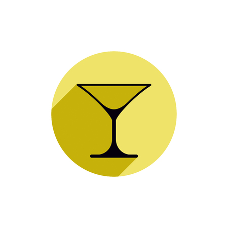 rendezvous: Classic empty martini glass, alcohol and entertainment theme illustration. Party lifestyle graphic goblet isolated.