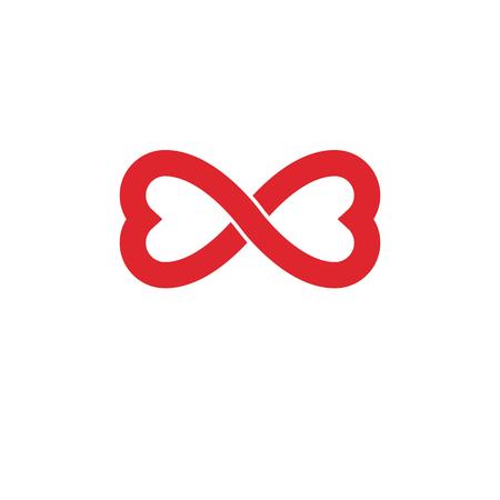 Oneindige liefde concept, vector symbool gemaakt met oneindigheidsteken en mannelijke Mars een vrouwelijke Venus tekenen. Relatie creatief idee.