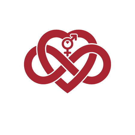 everlasting: Infinite Love concept, vector symbol created with infinity loop sign and heart.