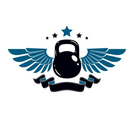star award: Bodybuilding weightlifting gym logotype sport club, vintage style vector emblem. With kettlebell. Illustration
