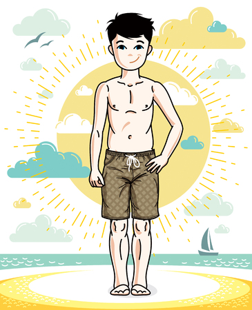 Cute happy young teen boy posing in colorful stylish beach shorts. Vector human illustration. Fashion and lifestyle theme cartoon.
