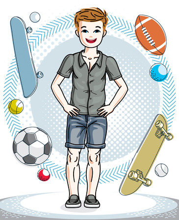 school age: Sweet little boy young teen standing wearing fashionable casual clothes. Vector human illustration. Childhood lifestyle clip art. Illustration