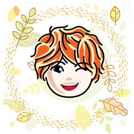 red haired: Vector illustration of beautiful red-haired happy girl face, positive face features, teenager winking. Autumn theme clipart. Illustration
