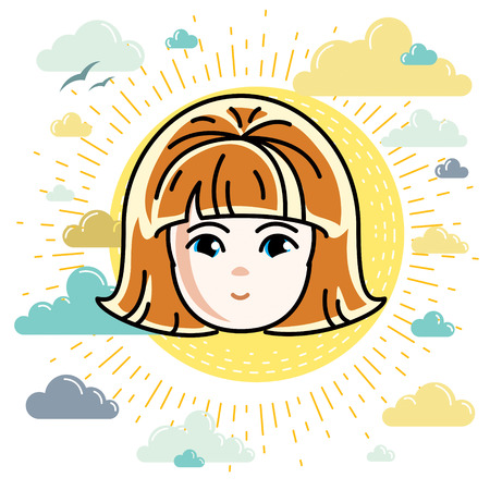 red haired: Girls face, human head. Vector character, beautiful red-haired teenager with stylish haircut. Illustration