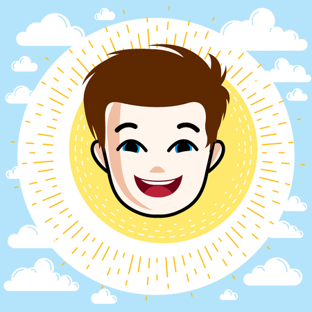 features: Boy face, human head. Vector character, happy red-haired teenager with stylish haircut.