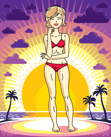 Attractive young blonde woman standing on sunset landscape with palms and wearing red bathing suit. Vector human illustration.