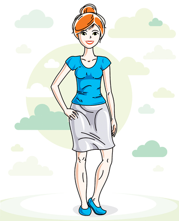 red haired: Happy pretty young red-haired woman standing on nature backdrop with blue sky and clouds. Vector character.