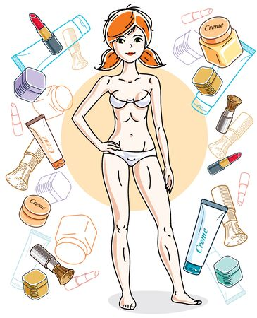 red haired: Attractive young red-haired woman in underwear standing on colorful background with cosmetic accessories. Vector human illustration.