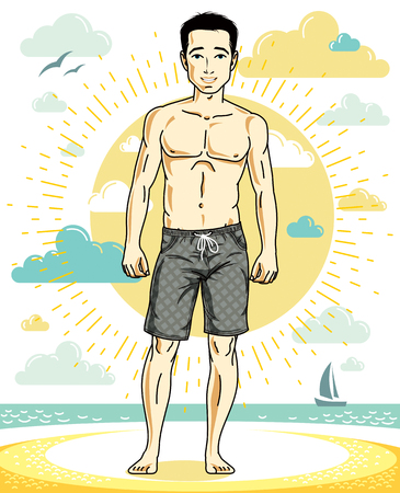 Handsome man posing on tropical beach in colorful shorts. Vector character. Summer holidays theme. Illustration