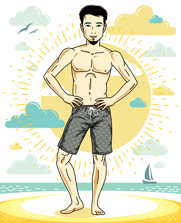 Handsome man with beard standing on tropical beach and wearing beachwear shorts. Vector human illustration. Summer vacation theme. Illustration