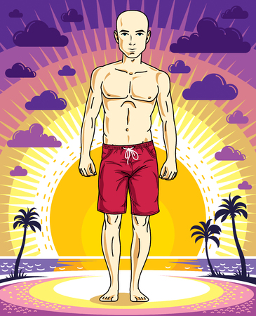 Handsome bald man is standing on sunset landscape with palms and wearing beachwear shorts. Vector human illustration. Summer vacation theme. Illustration