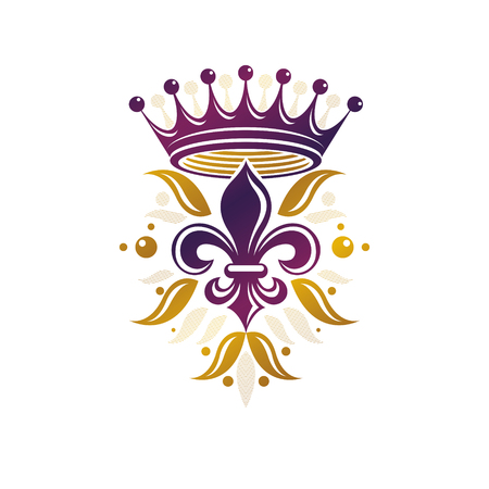 Retro golden vintage Insignia created with lily flower and imperial crown. Vector quality idea design element, Fleur-De-Lis. Vettoriali