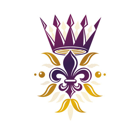 glorious: Victorian golden emblem composed using lily flower and monarch crown. Royal quality award vector design element, business label.