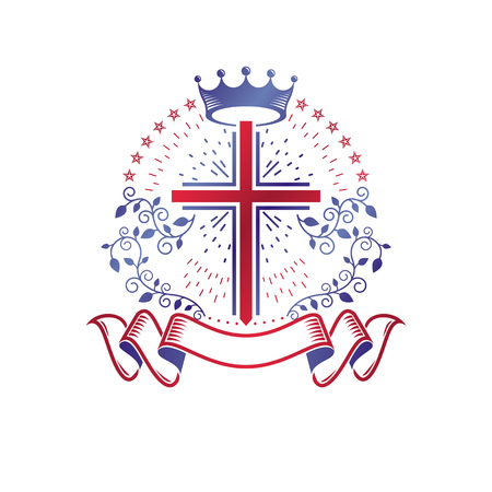 Cross Religious graphic emblem created using imperial crown and floral ornament, Christian crucifixion. Heraldic Coat of Arms, vintage vector logo decorated with beautiful ribbon. Illustration