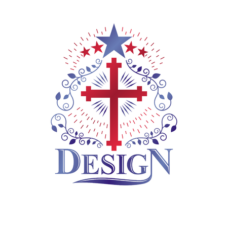 Christian Cross gothic emblem created with pentagonal star and laurel wreath. Heraldic Coat of Arms decorative logo isolated vector illustration. Religion and spirituality art symbol.