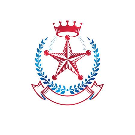 Pentagonal Stars emblem decorated using imperial crown and laurel wreath, union theme symbol. Heraldic Coat of Arms, vintage vector logo.