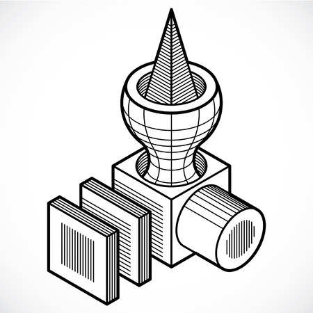 Abstract construction vector, dimensional design.