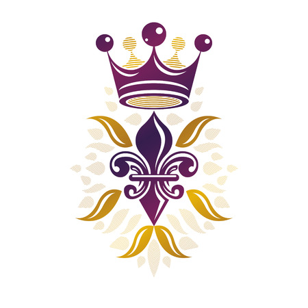 glorious: Retro golden vintage Insignia created with lily flower and imperial crown. Vector quality idea design element, Fleur-De-Lis. Illustration
