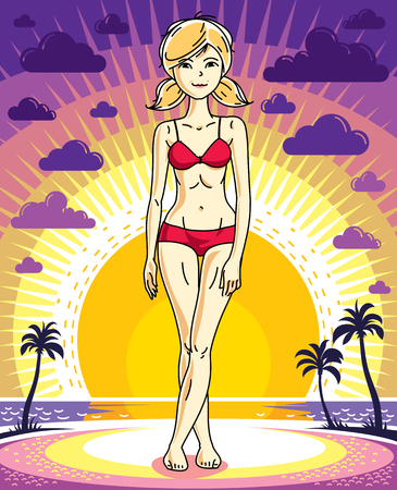 Attractive young blonde woman posing on background of sunset landscape with palms and wearing red bikini. Vector nice lady illustration. Lifetime theme clipart.