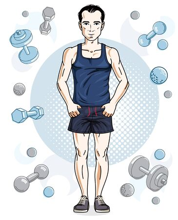Happy brunet young adult man standing on simple background with dumbbells and barbells. Vector character, sport and fitness theme.