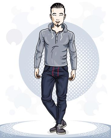 Atlético brunet joven adulto de pie. Personaje de vector con barba vistiendo ropa deportiva, estilo de vida saludable y el tema de la aptitud.