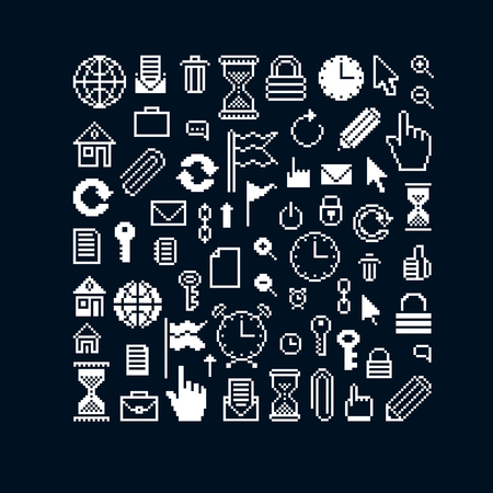 Vector flat 8 bit icons, collection of simple geometric pixel symbols. Digital web signs created in different social concepts.