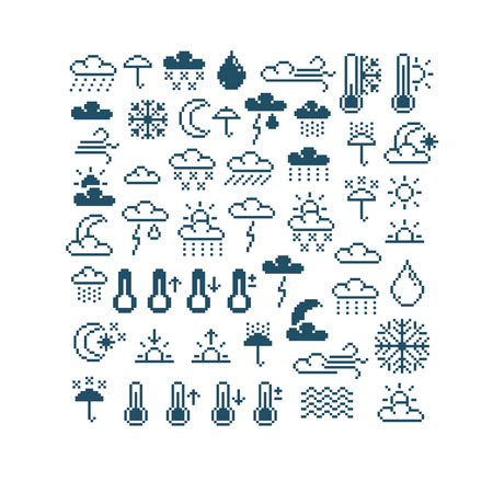 Set of vector meteorology retro signs made in pixel art style. Climate conditions theme geometric pixilated symbols. Çizim