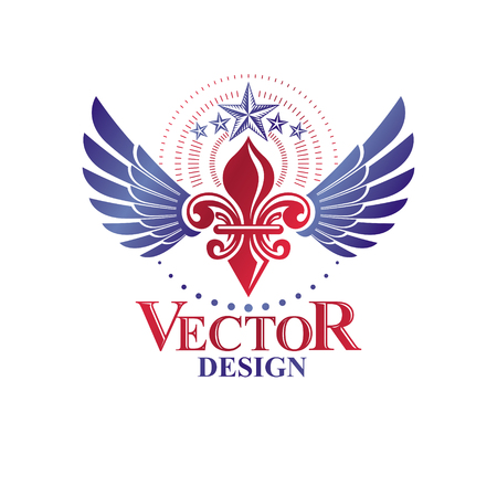 Retro winged vintage Insignia created with lily flower and pentagonal stars. Vector product quality idea design element, Fleur-De-Lis. Illustration