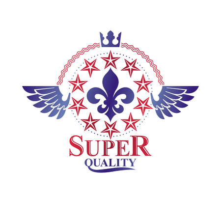 Victorian winged emblem composed using lily flower, monarch crown and pentagonal stars. Royal quality award vector design element, business label.