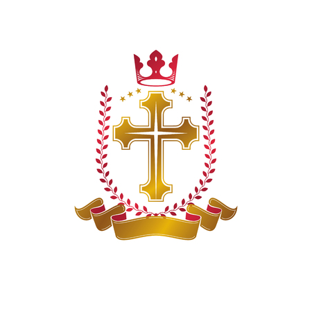 Christian Cross golden emblem created with royal crown, laurel wreath and luxury ribbon. Heraldic Coat of Arms decorative icon isolated vector illustration. Religion and spirituality symbol.