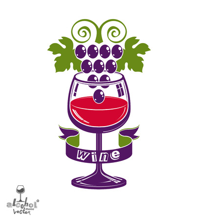 rendezvous: Winery award theme vector illustration. Stylized half full glass of wine with grapes cluster and decorative ribbon, racemation symbol best for use in advertising and graphic design. Illustration