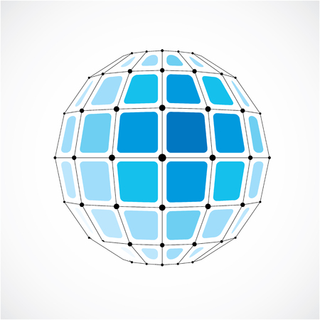 Vector dimensional wireframe low poly object, spherical blue facet shape with black grid. Technology 3d mesh element made using squares for use as design form in engineering. Illustration