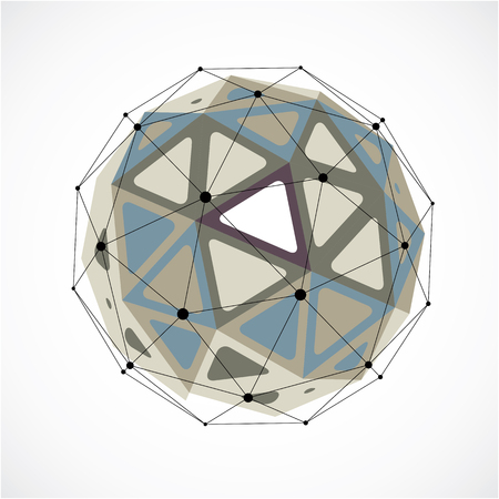 Vector dimensional wireframe low poly object, grayscale spherical shape with black grid. Technology 3d mesh element made using triangular facets for use as design form in engineering.