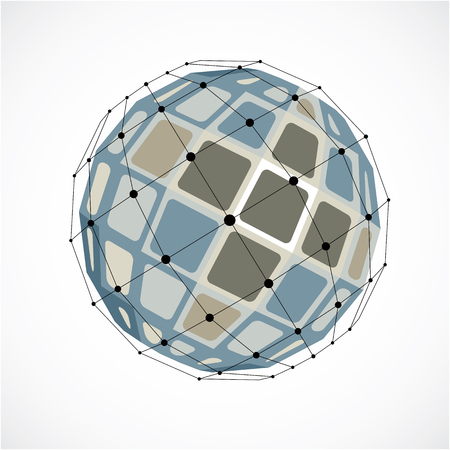 Abstract vector low poly object with black lines and dots connected. Grayscale 3d futuristic globe with overlapping lines mesh and squares. Illustration