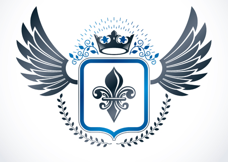 fleurdelis: Vintage winged emblem created in vector heraldic design and composed using lily flower and imperial crown.