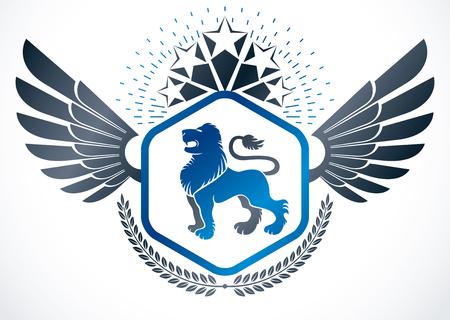 star award: Vintage winged emblem created in vector heraldic design and composed using wild lion illustration, laurel wreath and pentagonal stars.