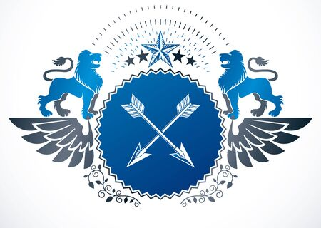 armory: Heraldic Coat of Arms decorative winged emblem, isolated vector illustration created using wild lions, pentagonal stars and arrows crossed.