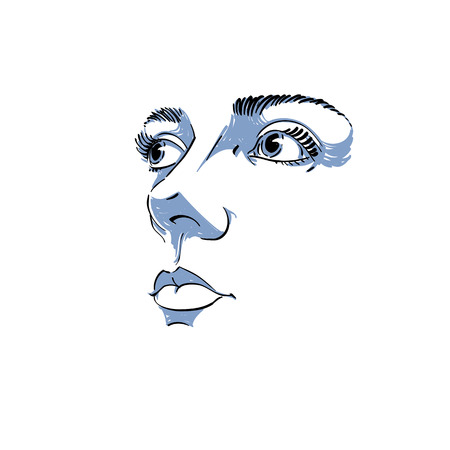 Zwart-wit silhouet van lachende aantrekkelijke dame, gezichtseigenschappen. Hand-drawn vectorillustratie van vrouwengezicht, overzicht. Kaukasisch type. Stock Illustratie
