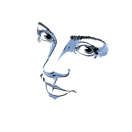 Monochrome silhouette of melancholic  attractive lady, face features. Hand-drawn vector illustration of woman visage, outline. Emotions theme illustration. Attractive model.