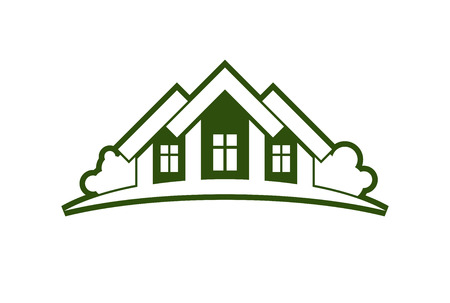 Abstract vector illustration of country houses with horizon line. Village theme picture � green house. Simple buildings on nature background, graphic emblem for advertising and real estate.