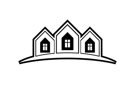 Abstract vector houses with horizon line. Can be used in advertising and branding as a corporate symbol. Real estate business theme. Illustration