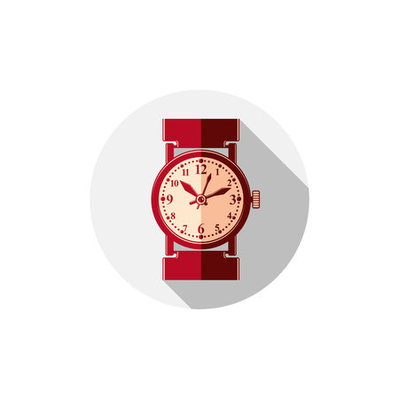 interim: Stylish wristwatch illustration, elegant timepiece with dial and an hour hand. Corporate design emblem or web element. Illustration