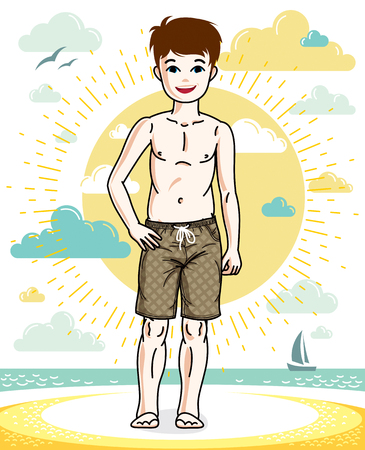 Pretty child boy standing in colorful stylish beach shorts. Vector character. Childhood lifestyle clipart.