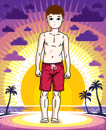 school age: Young teen boy cute nice standing wearing fashionable beach shorts. Vector character. Fashion theme clipart.