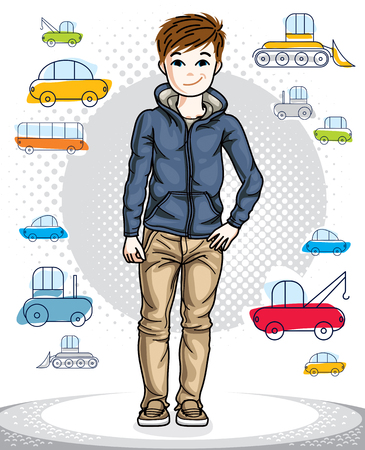 school age: Young teen boy cute nice standing in stylish casual clothes. Vector attractive kid illustration. Fashion and lifestyle theme cartoon.